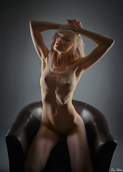 Sexual posing nipples exposed, studio photography London, Teo Totev