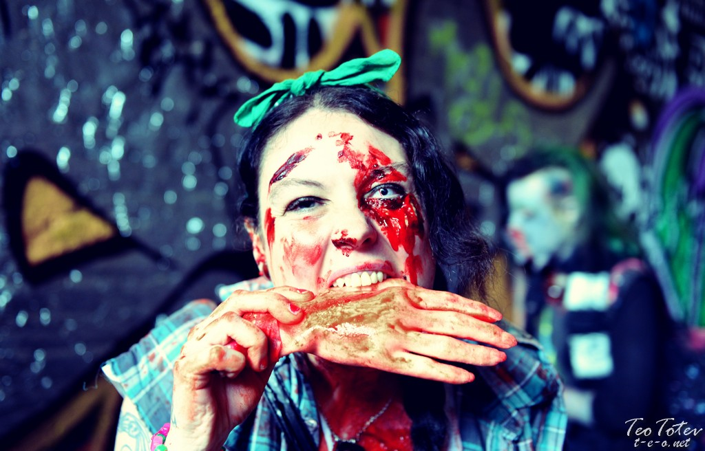Zombie with hand in mouth