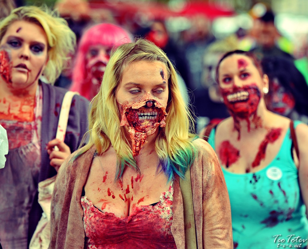 Busty Zombie covered in blood