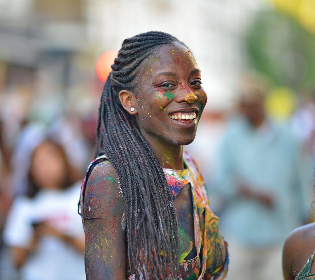 Black Girl Smiling at Notting Hill Festival