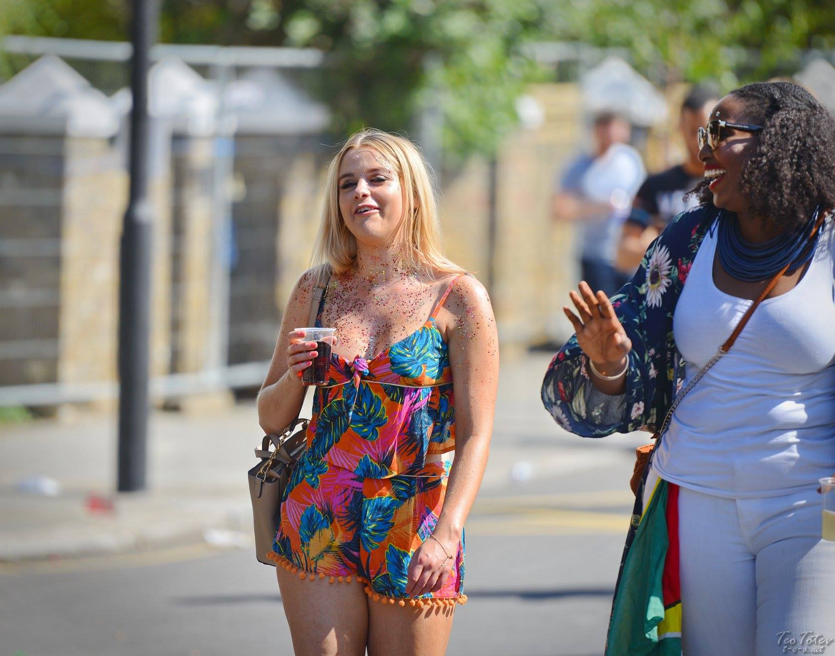 Blonde in Maxi Dress at Notting Hill Festival