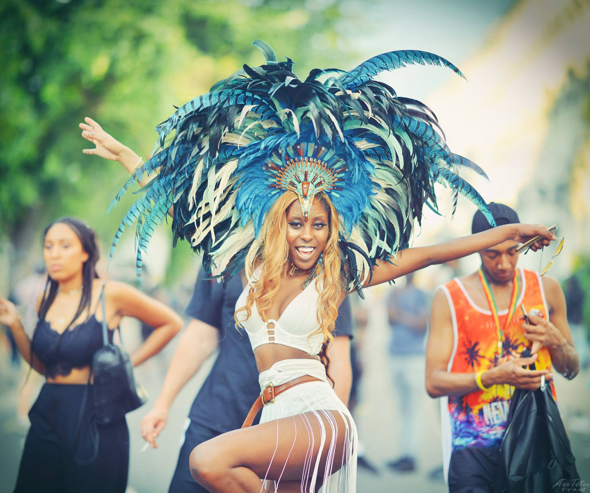 Dancer with Feathers at Notting Hill Gate Festival