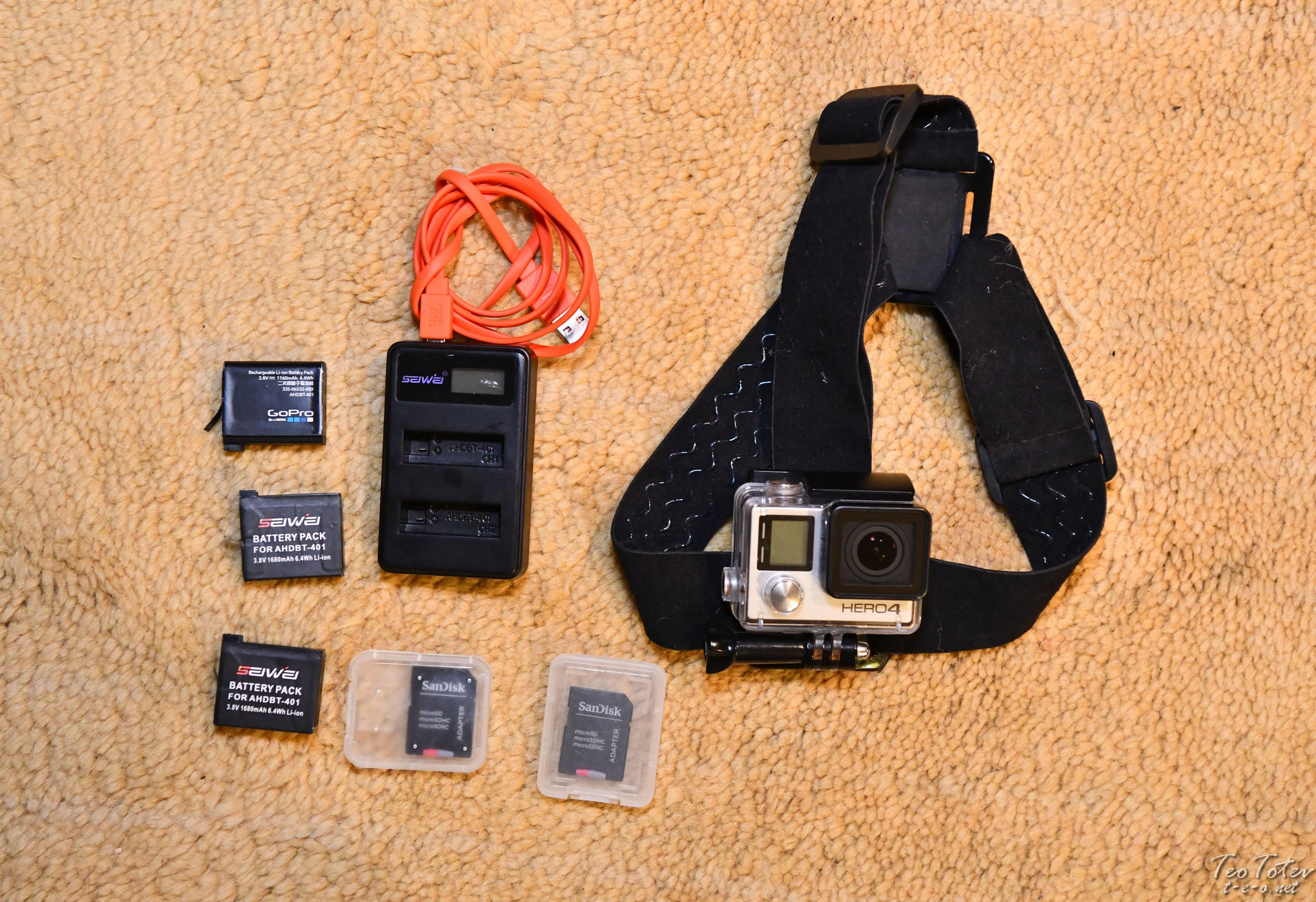 GoPro Hero4 Silver with USB Charger, Batteries and Cards