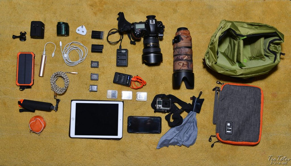 Travel Photographer Entire Kit, Camera, Lenses, Action Camera, Phone, Tablet, Power Banks, Chargers, Bags and Batteries