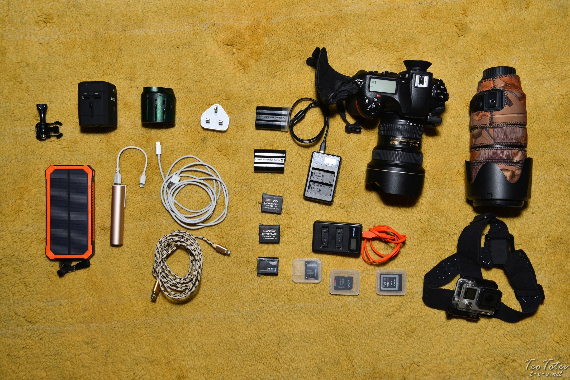 Travel Photogrpaher Minimum Travel Kit - Nikon D850, Nikkor 14-24mm, Nikkor 70-200mm f2.8, GoPro Hero4 silver, Power Banks Adapters and Batteries