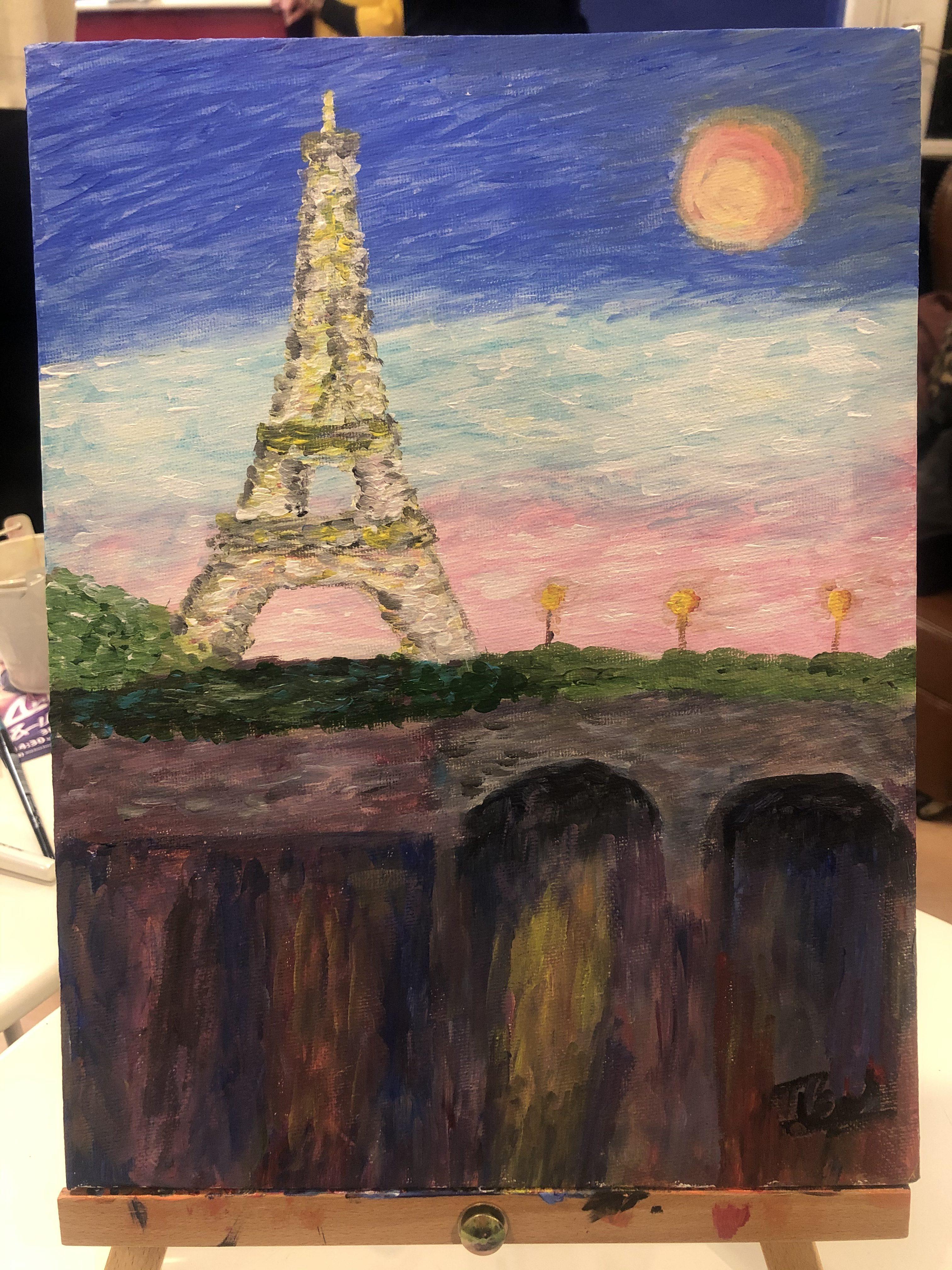 Eiffel tower paintings on canvas