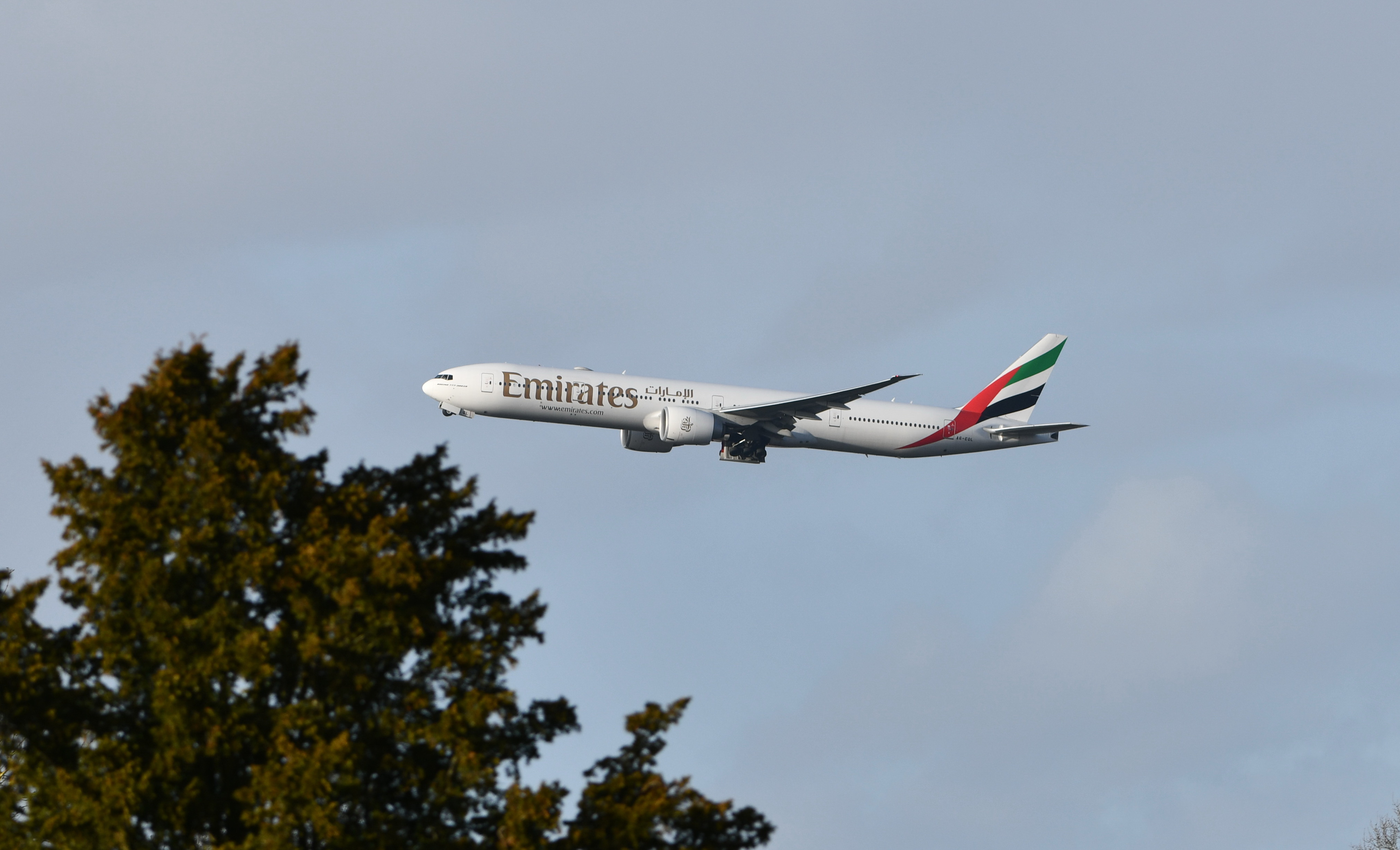 Emirates Boeing 777-31 HER A6-EQL taking off from London Stansted Airport