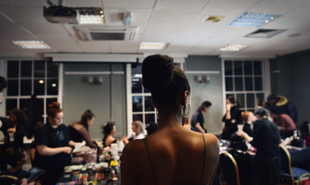 Model in dressing room