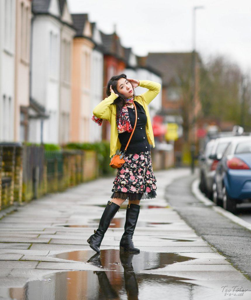 Model on London Wet Streets